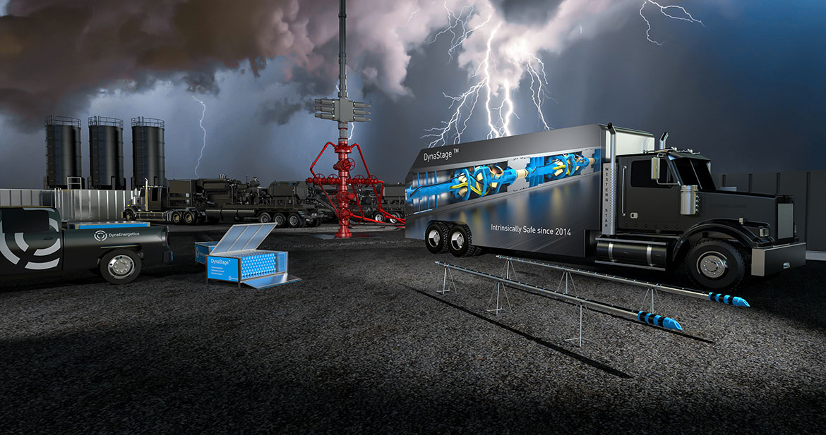 intrinsically safe DynaStage Gun System with thunder at wellsite